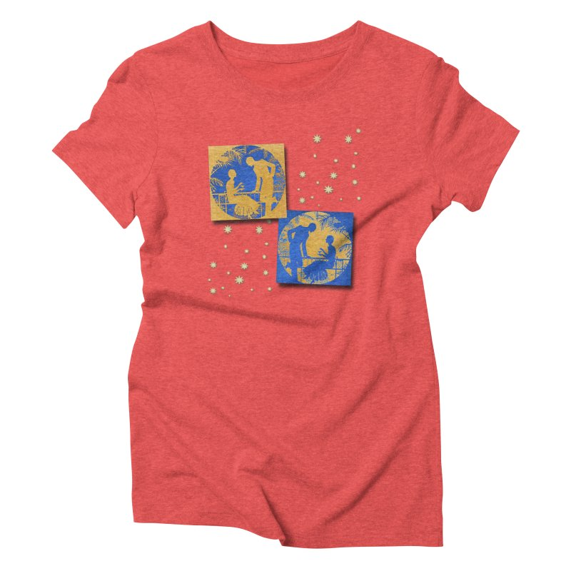 Shimmering Blue and Orange Pastel Silhouette Couple Under The Stars Women's Triblend T-Shirt by Maryheartworks's Artist Shop