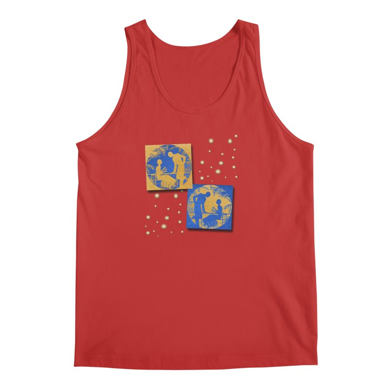 Shimmering Blue and Orange Pastel Silhouette Couple Under The Stars Men's Regular Tank by Maryheartworks's Artist Shop