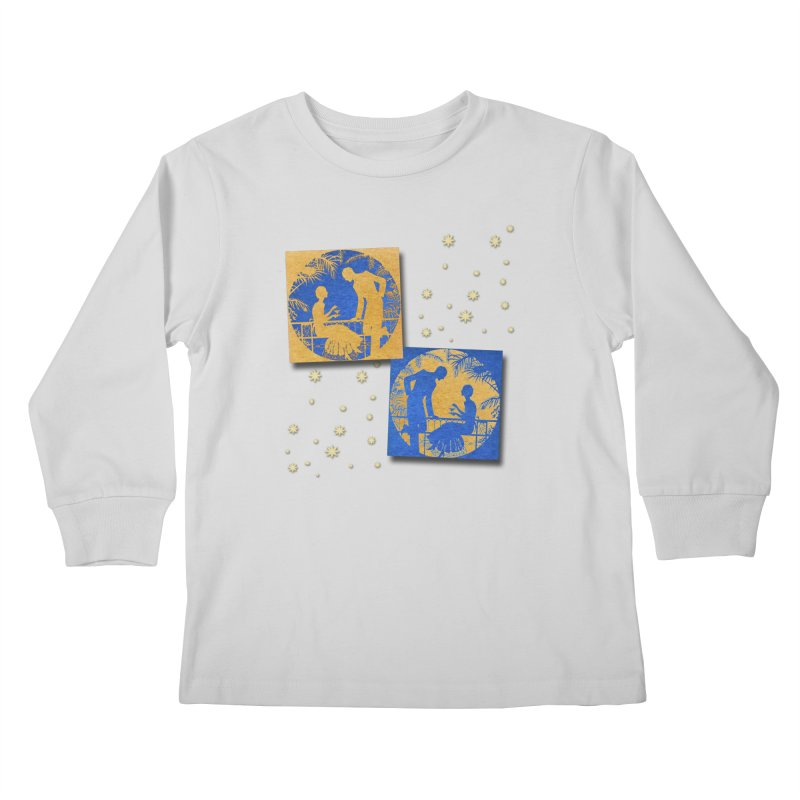 Shimmering Blue and Orange Pastel Silhouette Couple Under The Stars Kids Longsleeve T-Shirt by Maryheartworks's Artist Shop