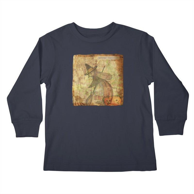 Halloween Preparations Kids Longsleeve T-Shirt by Maryheartworks's Artist Shop