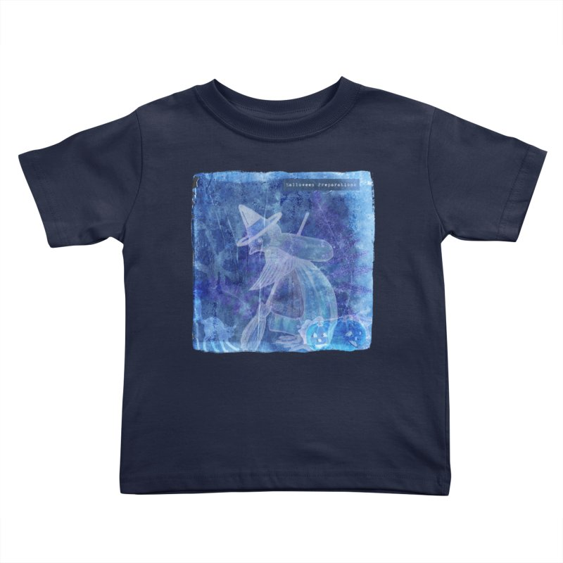 Halloween Preparations Design In Blue Boo Kids Toddler T-Shirt by Maryheartworks's Artist Shop