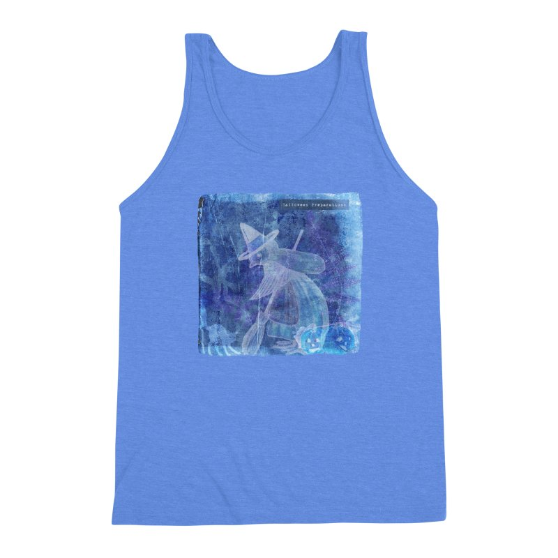 Halloween Preparations Design In Blue Boo Men's Triblend Tank by Maryheartworks's Artist Shop