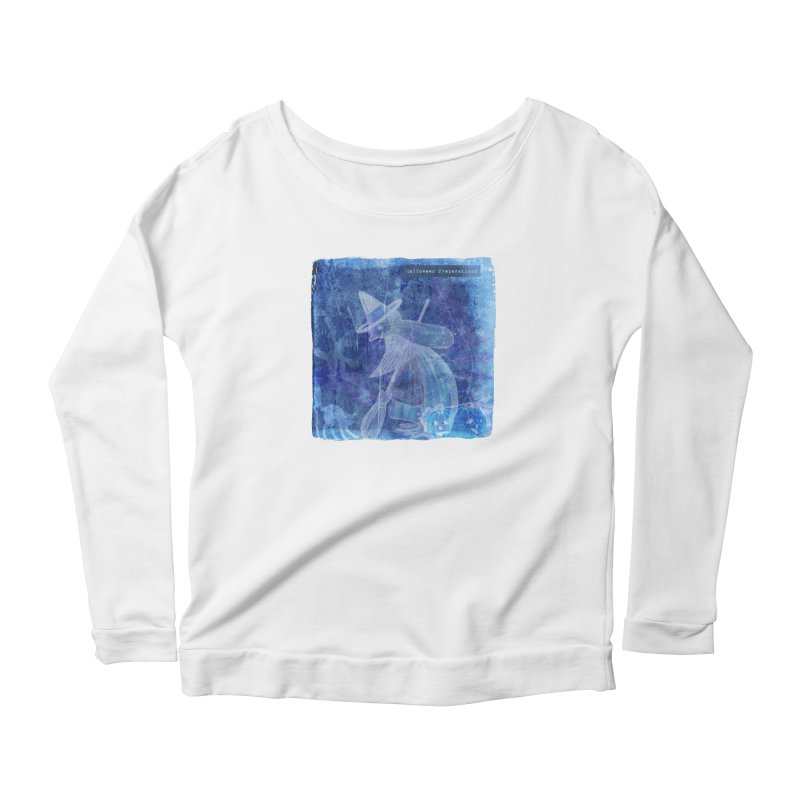 Halloween Preparations Design In Blue Boo Women's Scoop Neck Longsleeve T-Shirt by Maryheartworks's Artist Shop