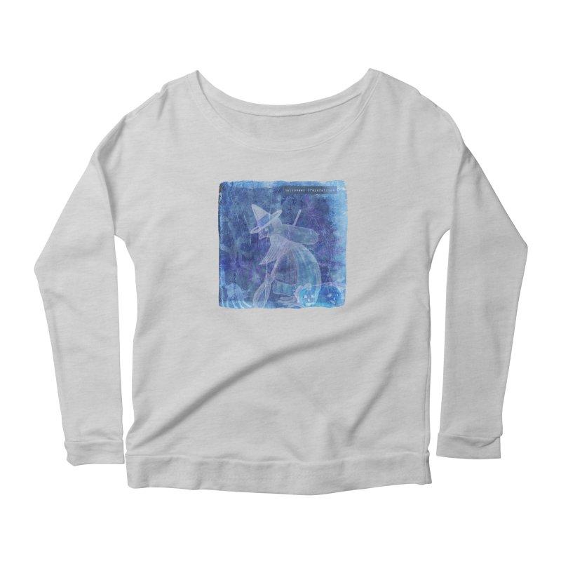 Halloween Preparations Design In Blue Boo Women's Scoop Neck Longsleeve T-Shirt by Maryheartworks's Artist Shop