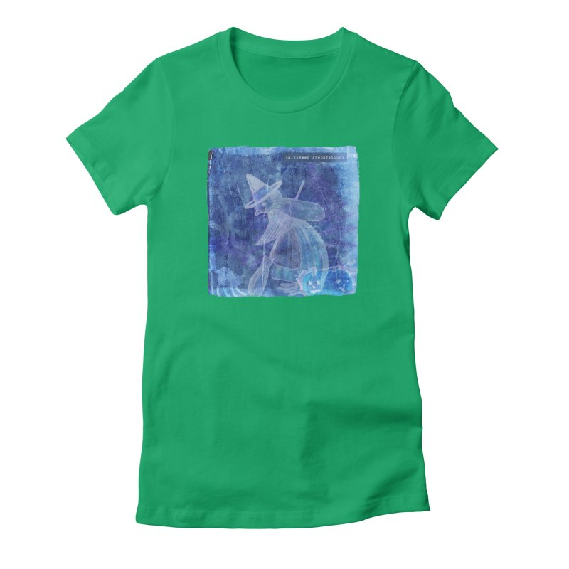 Halloween Preparations Design In Blue Boo Women's Fitted T-Shirt by Maryheartworks's Artist Shop