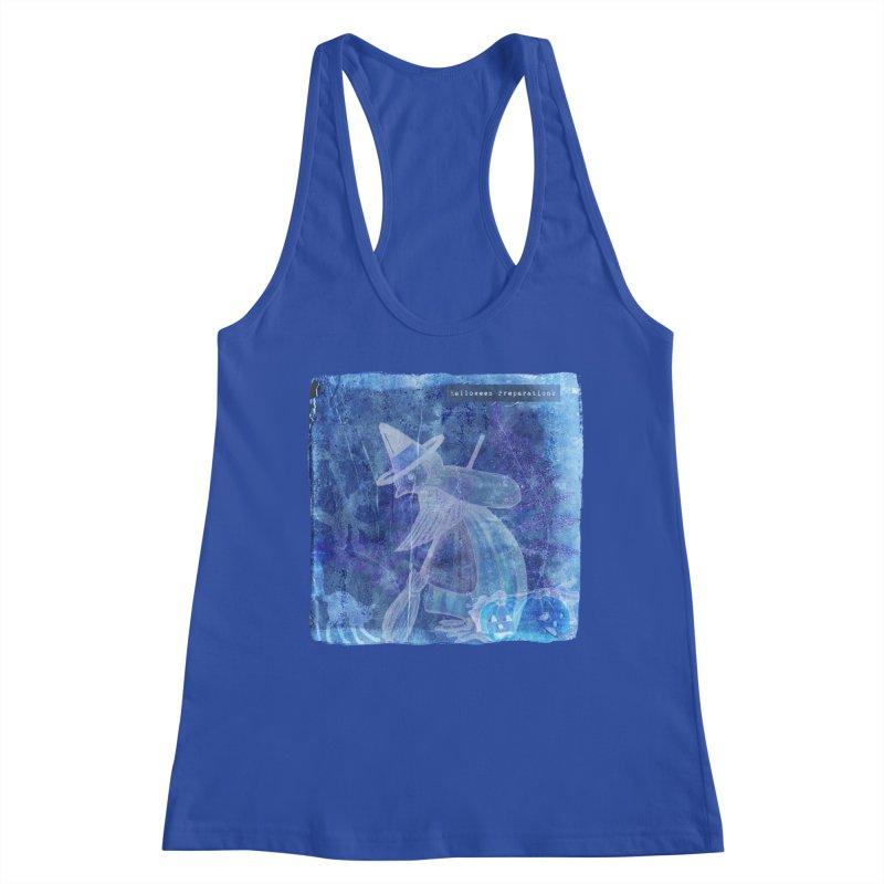 Halloween Preparations Design In Blue Boo Women's Racerback Tank by Maryheartworks's Artist Shop