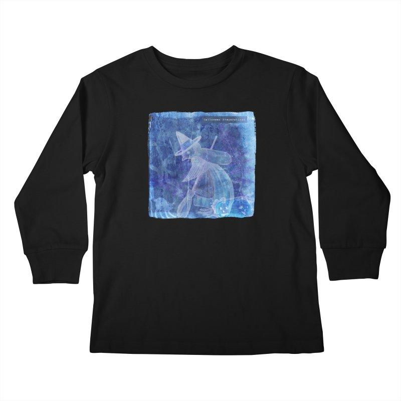 Halloween Preparations Design In Blue Boo Kids Longsleeve T-Shirt by Maryheartworks's Artist Shop