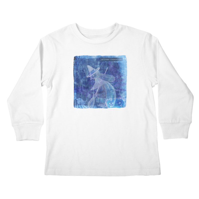 Halloween Preparations Design In Blue Boo Kids Longsleeve T-Shirt by Maryheartworks's Artist Shop