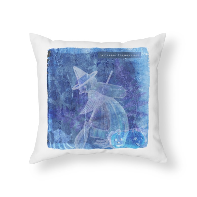 Halloween Preparations Design In Blue Boo Home Throw Pillow by Maryheartworks's Artist Shop