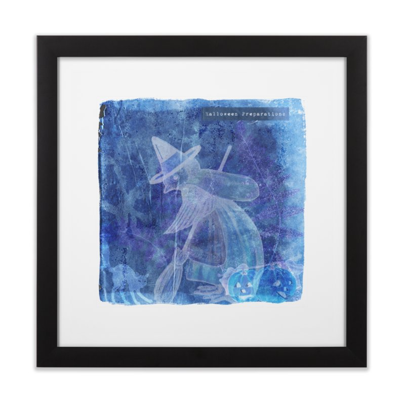 Halloween Preparations Design In Blue Boo Home Framed Fine Art Print by Maryheartworks's Artist Shop