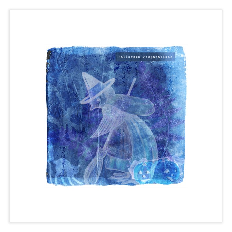 Halloween Preparations Design In Blue Boo Home Fine Art Print by Maryheartworks's Artist Shop