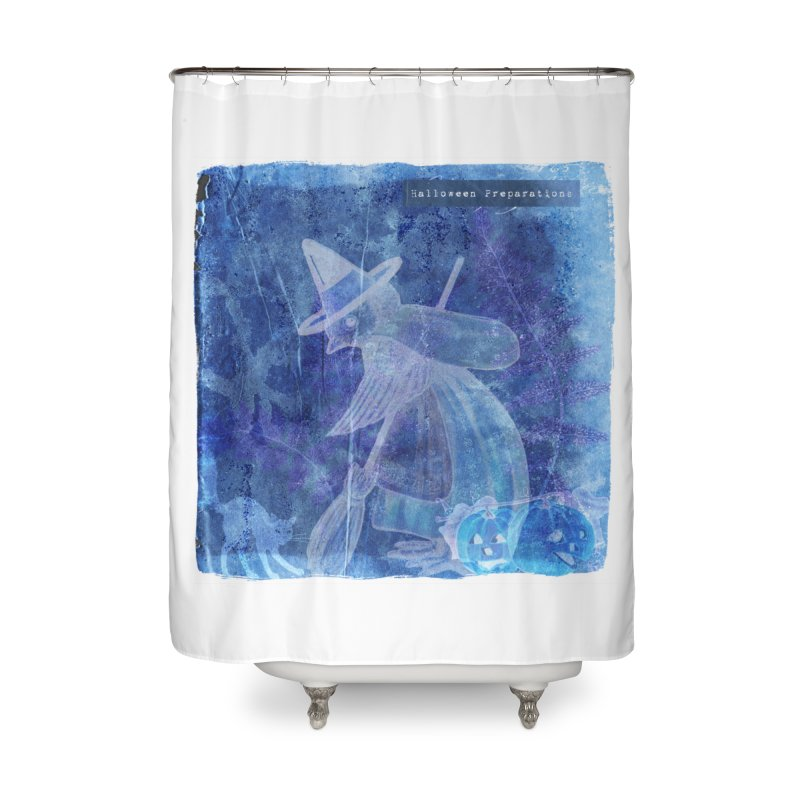 Halloween Preparations Design In Blue Boo Home Shower Curtain by Maryheartworks's Artist Shop