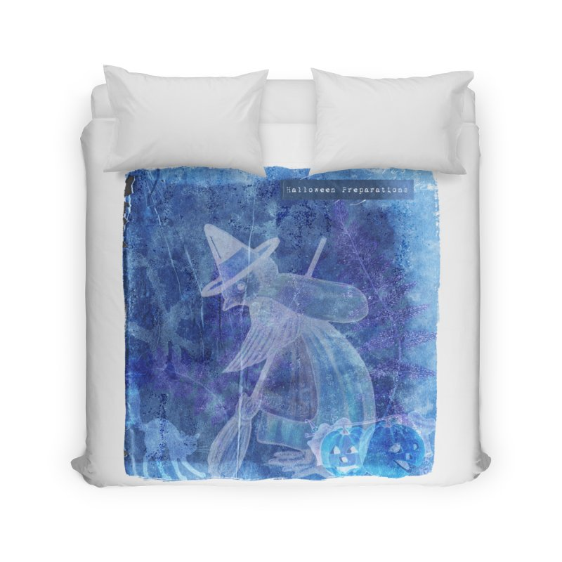 Halloween Preparations Design In Blue Boo Home Duvet by Maryheartworks's Artist Shop