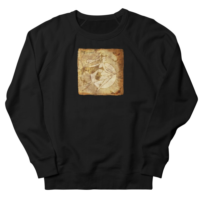 Happy Halloween Witch Riding Broom Retro Style Men's French Terry Sweatshirt by Maryheartworks's Artist Shop