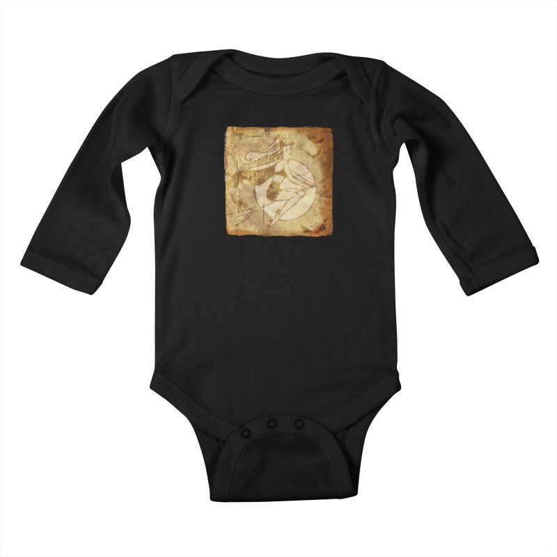 Happy Halloween Witch Riding Broom Retro Style Kids Baby Longsleeve Bodysuit by Maryheartworks's Artist Shop