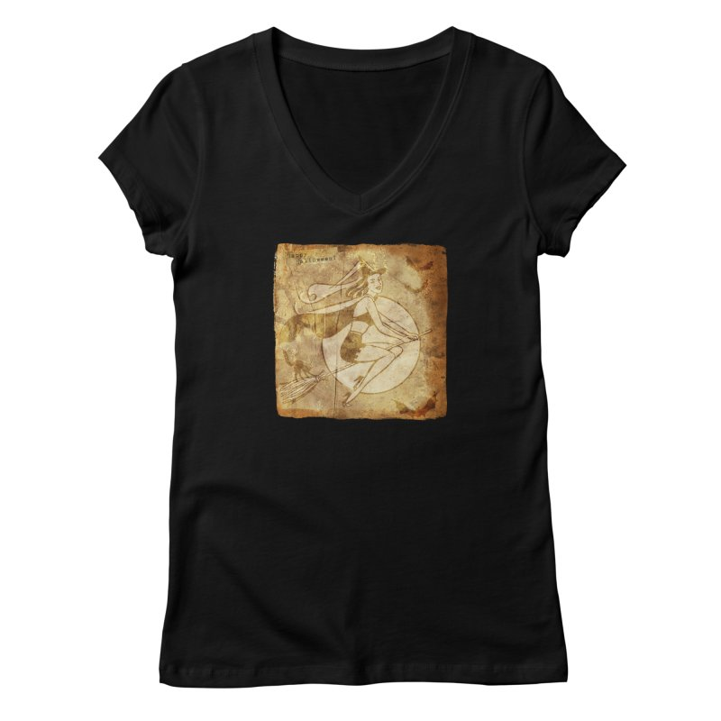 Happy Halloween Witch Riding Broom Retro Style Women's V-Neck by Maryheartworks's Artist Shop