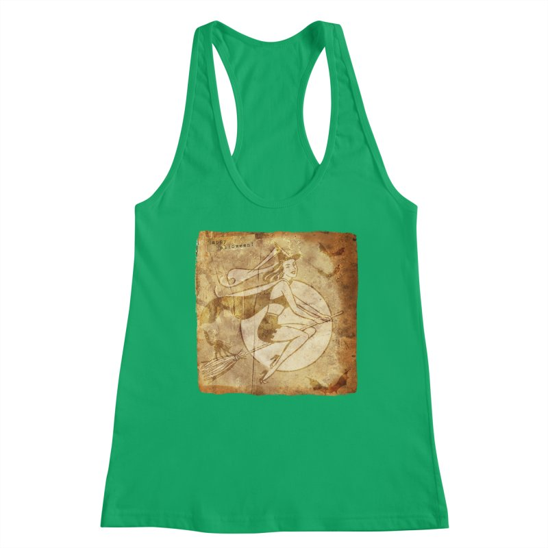 Happy Halloween Witch Riding Broom Retro Style Women's Racerback Tank by Maryheartworks's Artist Shop