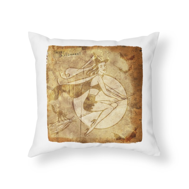 Happy Halloween Witch Riding Broom Retro Style Home Throw Pillow by Maryheartworks's Artist Shop