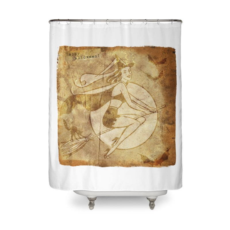 Happy Halloween Witch Riding Broom Retro Style Home Shower Curtain by Maryheartworks's Artist Shop