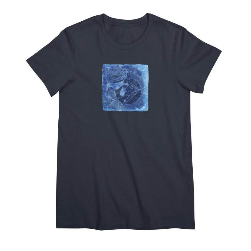 Happy Halloween Broom Riding Witch In Boo Blue! Women's Premium T-Shirt by Maryheartworks's Artist Shop