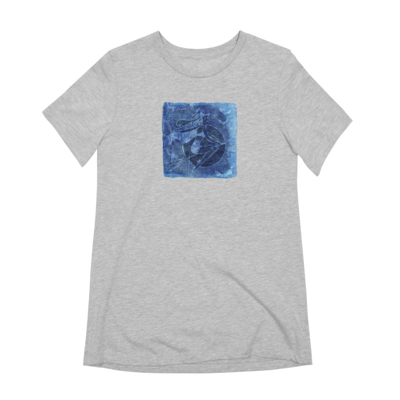 Happy Halloween Broom Riding Witch In Boo Blue! Women's Extra Soft T-Shirt by Maryheartworks's Artist Shop
