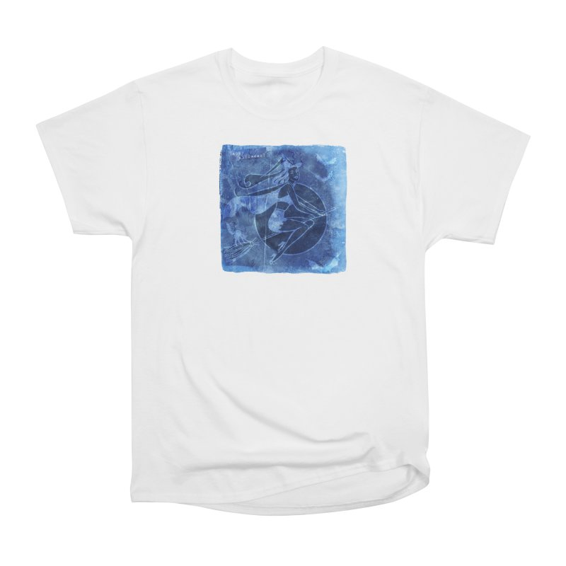 Happy Halloween Broom Riding Witch In Boo Blue! Women's T-Shirt by Maryheartworks's Artist Shop