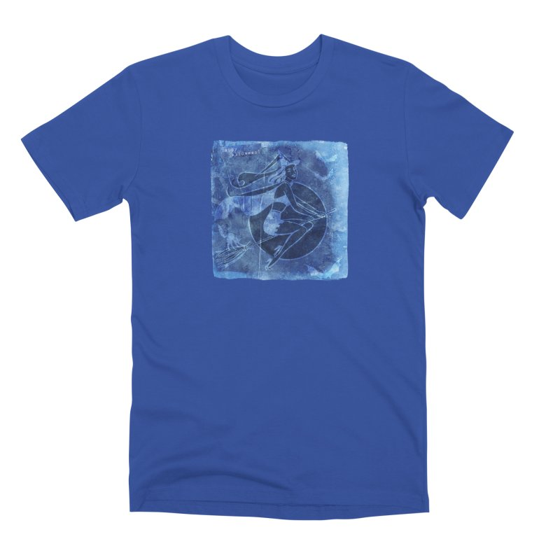 Happy Halloween Broom Riding Witch In Boo Blue! Men's Premium T-Shirt by Maryheartworks's Artist Shop