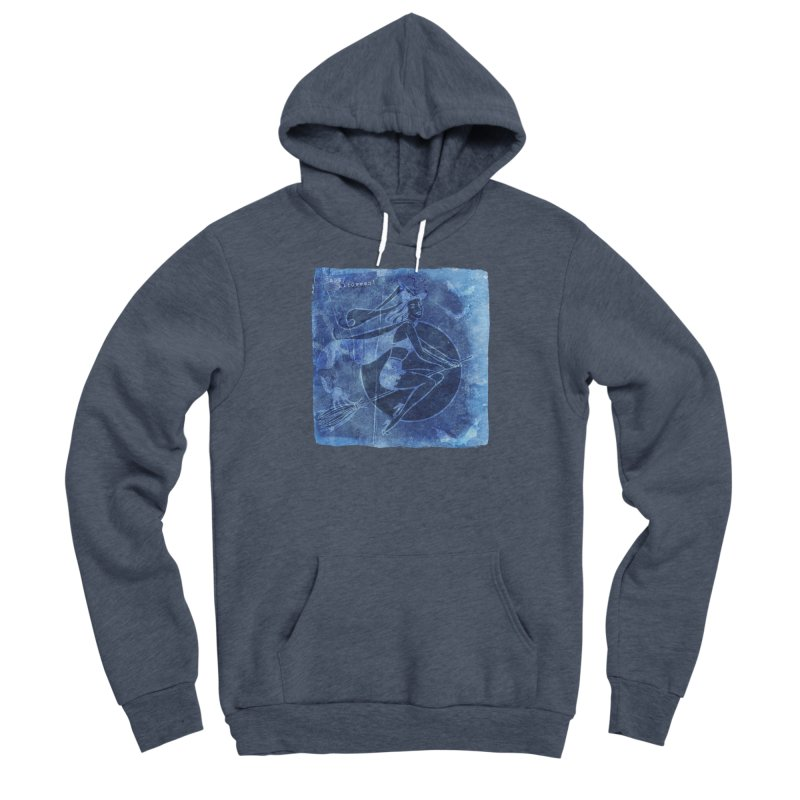 Happy Halloween Broom Riding Witch In Boo Blue! Men's Sponge Fleece Pullover Hoody by Maryheartworks's Artist Shop