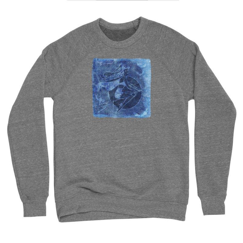 Happy Halloween Broom Riding Witch In Boo Blue! Men's Sponge Fleece Sweatshirt by Maryheartworks's Artist Shop