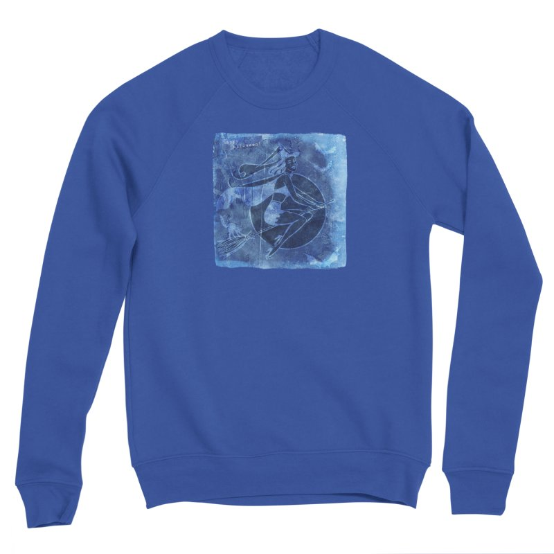 Happy Halloween Broom Riding Witch In Boo Blue! Men's Sponge Fleece Sweatshirt by Maryheartworks's Artist Shop