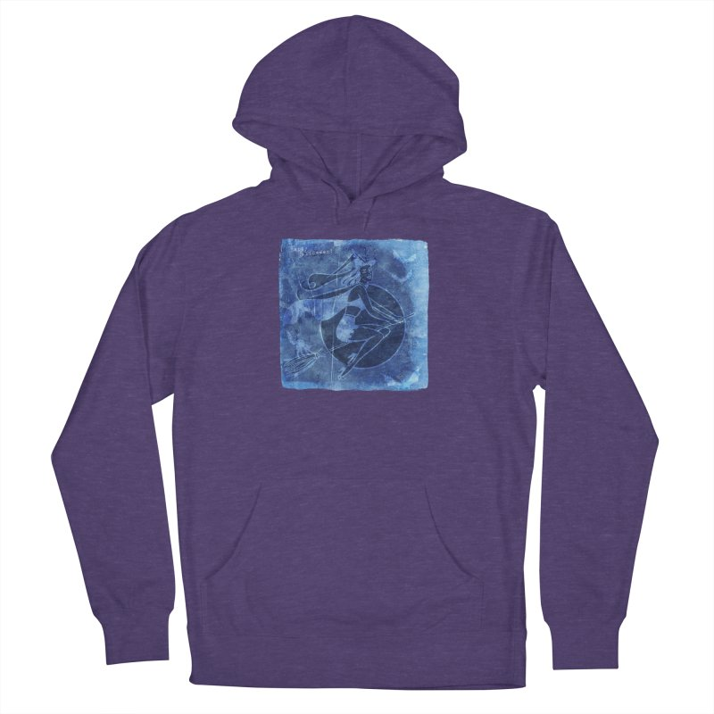 Happy Halloween Broom Riding Witch In Boo Blue! Women's French Terry Pullover Hoody by Maryheartworks's Artist Shop