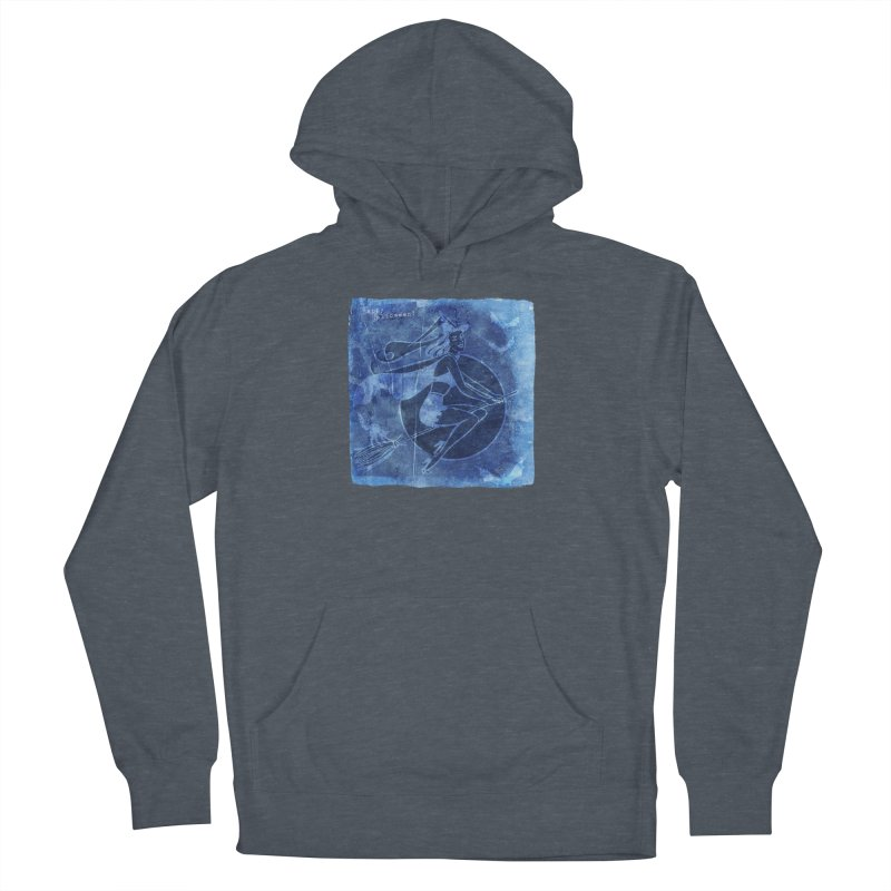 Happy Halloween Broom Riding Witch In Boo Blue! Men's French Terry Pullover Hoody by Maryheartworks's Artist Shop