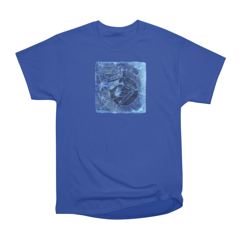Happy Halloween Broom Riding Witch In Boo Blue! Men's Heavyweight T-Shirt by Maryheartworks's Artist Shop
