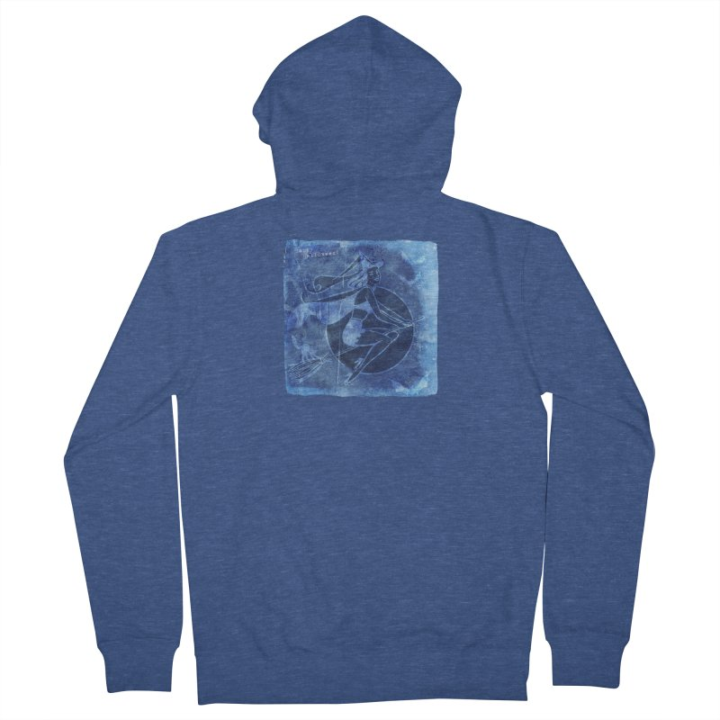 Happy Halloween Broom Riding Witch In Boo Blue! Women's French Terry Zip-Up Hoody by Maryheartworks's Artist Shop