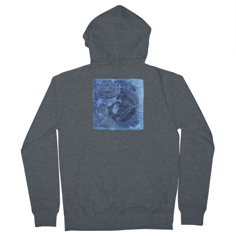 Happy Halloween Broom Riding Witch In Boo Blue! Men's French Terry Zip-Up Hoody by Maryheartworks's Artist Shop