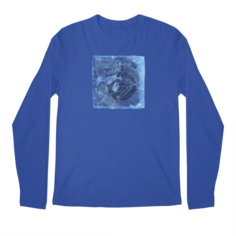 Happy Halloween Broom Riding Witch In Boo Blue! Men's Regular Longsleeve T-Shirt by Maryheartworks's Artist Shop