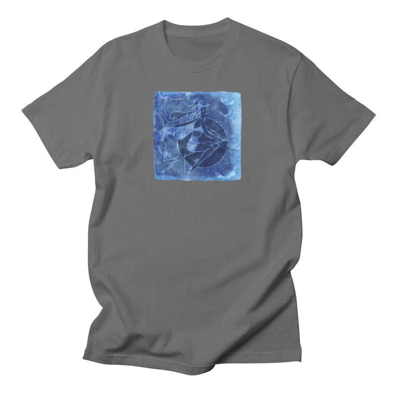 Happy Halloween Broom Riding Witch In Boo Blue! Men's T-Shirt by Maryheartworks's Artist Shop