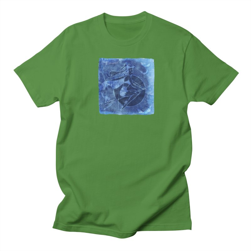 Happy Halloween Broom Riding Witch In Boo Blue! Women's Regular Unisex T-Shirt by Maryheartworks's Artist Shop
