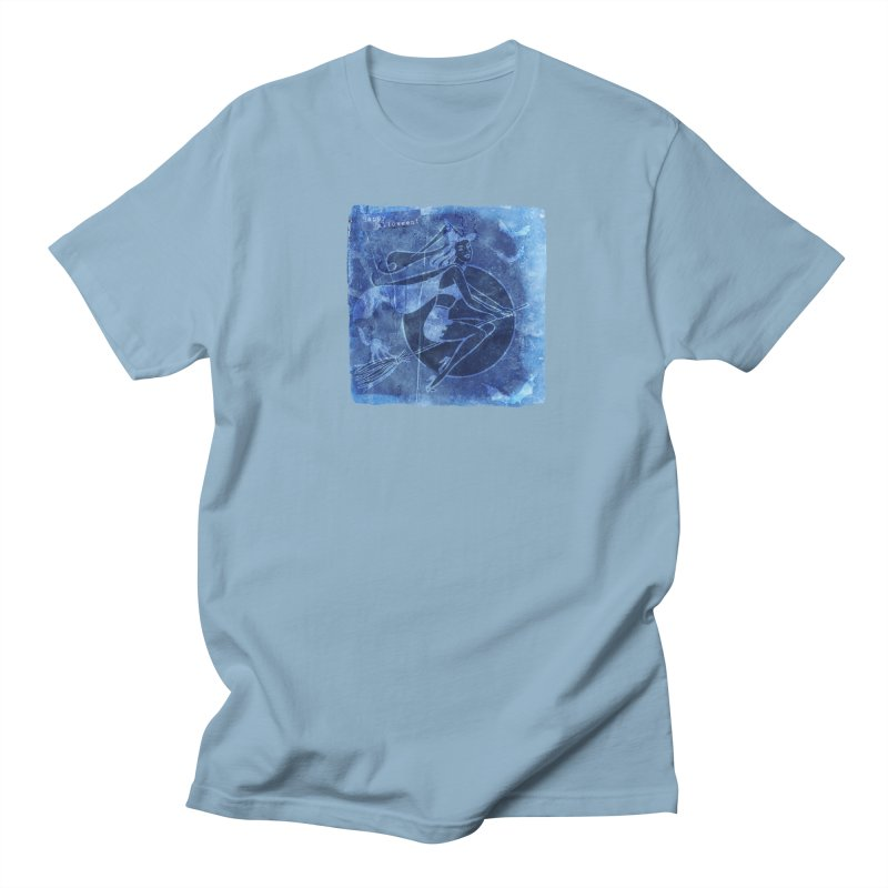 Happy Halloween Broom Riding Witch In Boo Blue! Men's Regular T-Shirt by Maryheartworks's Artist Shop