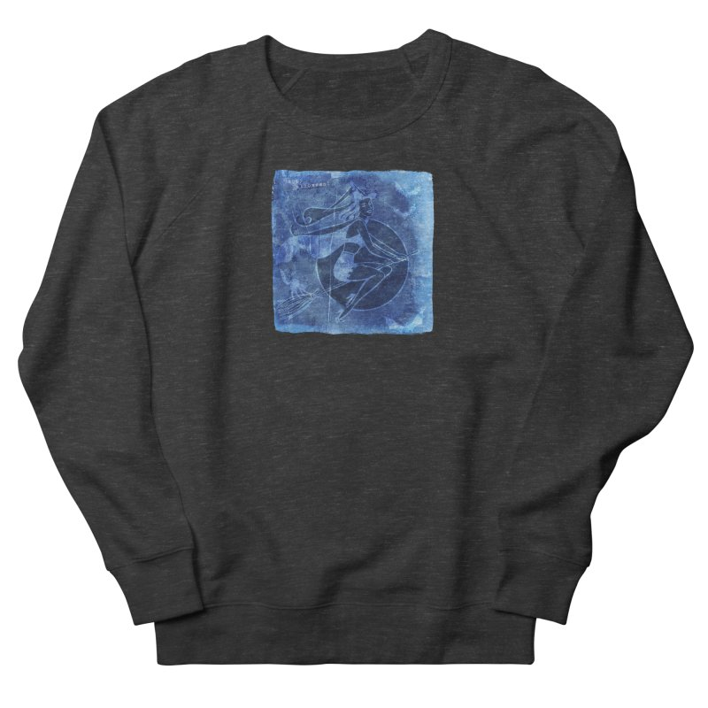 Happy Halloween Broom Riding Witch In Boo Blue! Women's French Terry Sweatshirt by Maryheartworks's Artist Shop