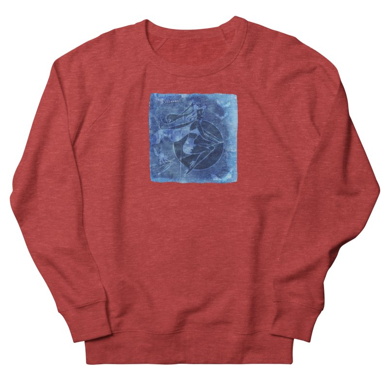 Happy Halloween Broom Riding Witch In Boo Blue! Men's French Terry Sweatshirt by Maryheartworks's Artist Shop