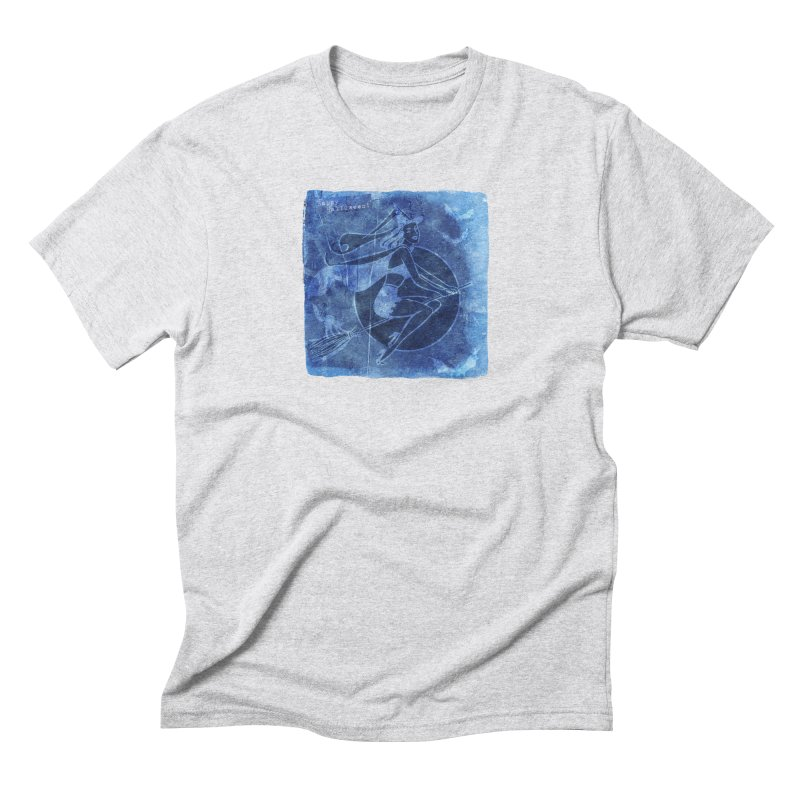 Happy Halloween Broom Riding Witch In Boo Blue! Men's Triblend T-Shirt by Maryheartworks's Artist Shop