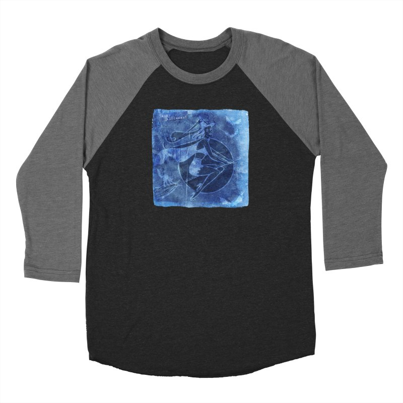 Happy Halloween Broom Riding Witch In Boo Blue! Men's Baseball Triblend Longsleeve T-Shirt by Maryheartworks's Artist Shop