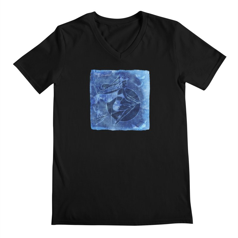 Happy Halloween Broom Riding Witch In Boo Blue! Men's Regular V-Neck by Maryheartworks's Artist Shop