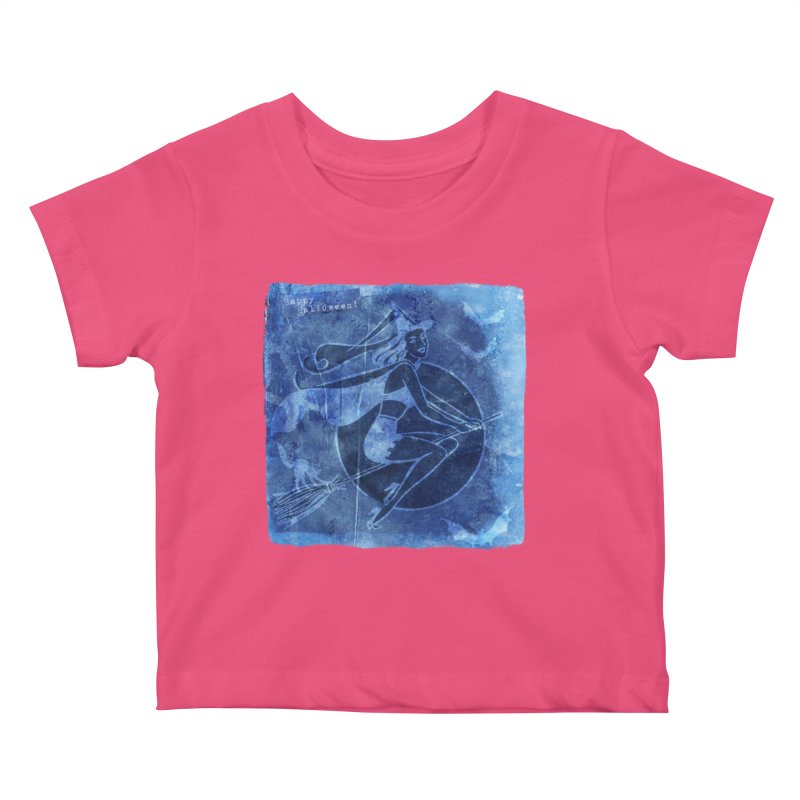 Happy Halloween Broom Riding Witch In Boo Blue! Kids Baby T-Shirt by Maryheartworks's Artist Shop