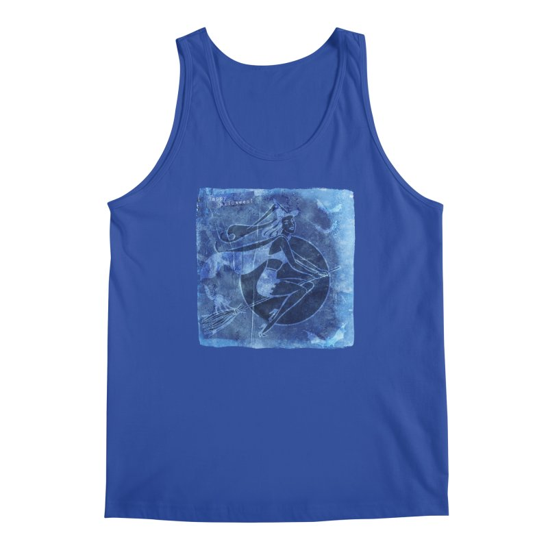 Happy Halloween Broom Riding Witch In Boo Blue! Men's Regular Tank by Maryheartworks's Artist Shop