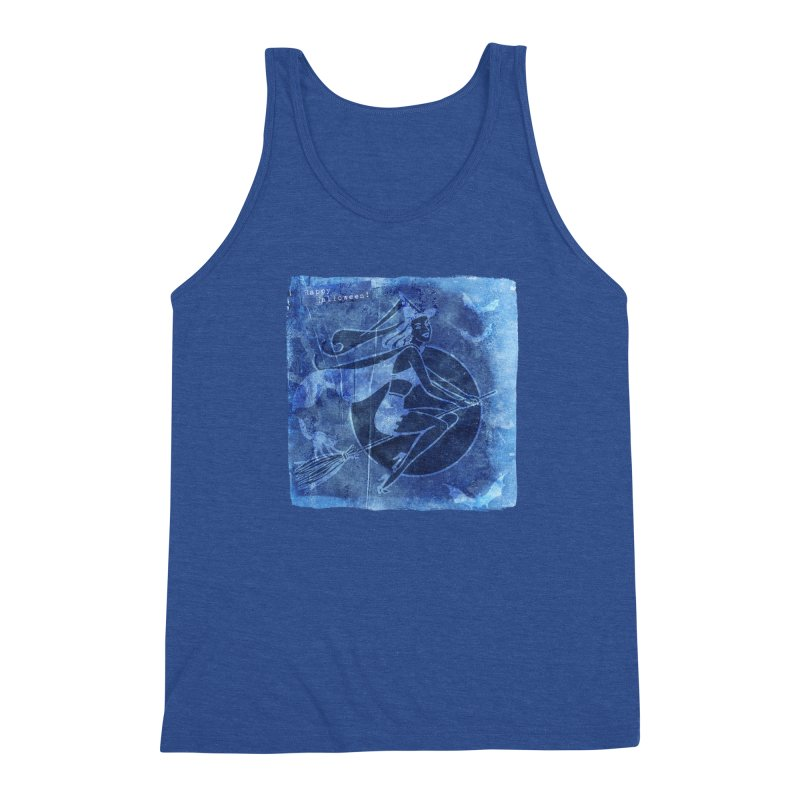 Happy Halloween Broom Riding Witch In Boo Blue! Men's Tank by Maryheartworks's Artist Shop