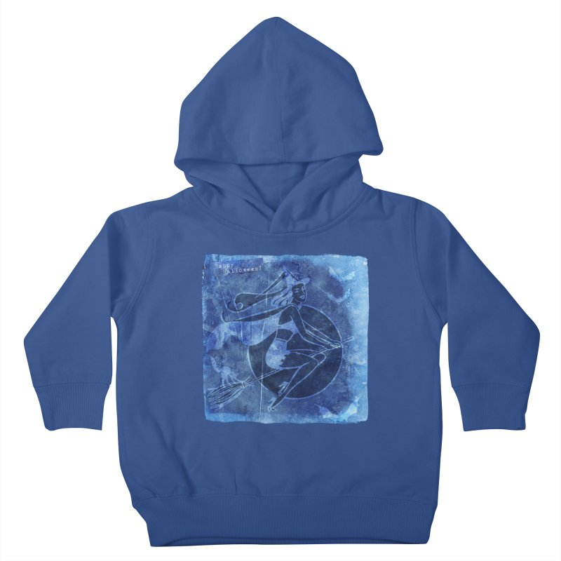 Happy Halloween Broom Riding Witch In Boo Blue! Kids Toddler Pullover Hoody by Maryheartworks's Artist Shop