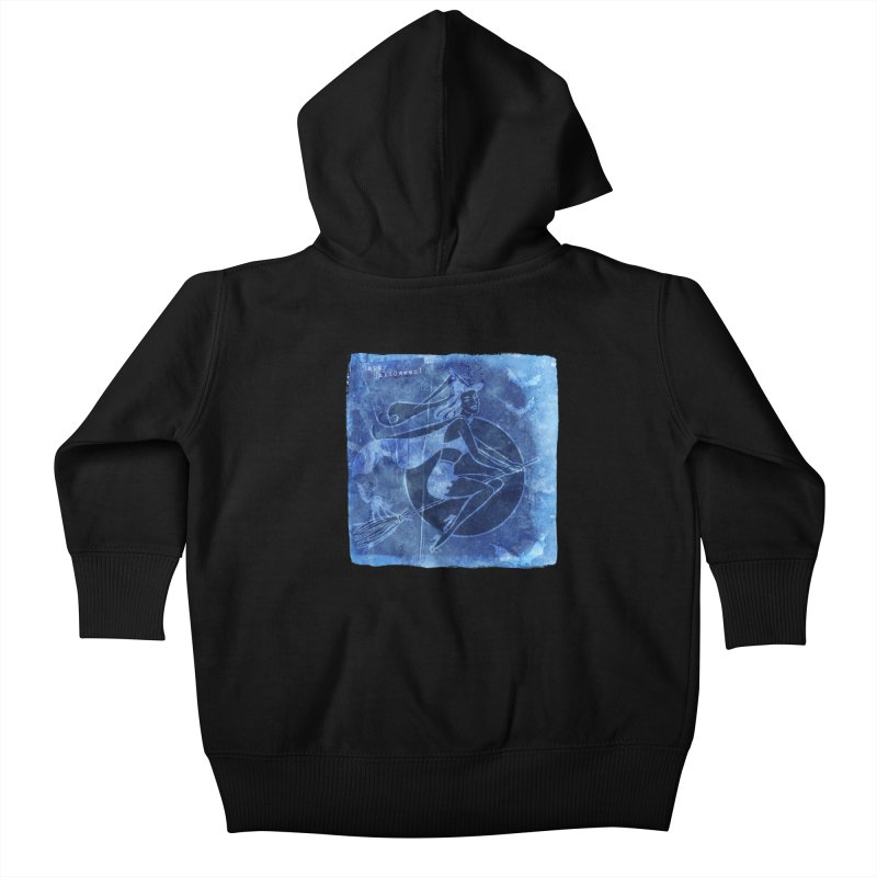 Happy Halloween Broom Riding Witch In Boo Blue! Kids Baby Zip-Up Hoody by Maryheartworks's Artist Shop