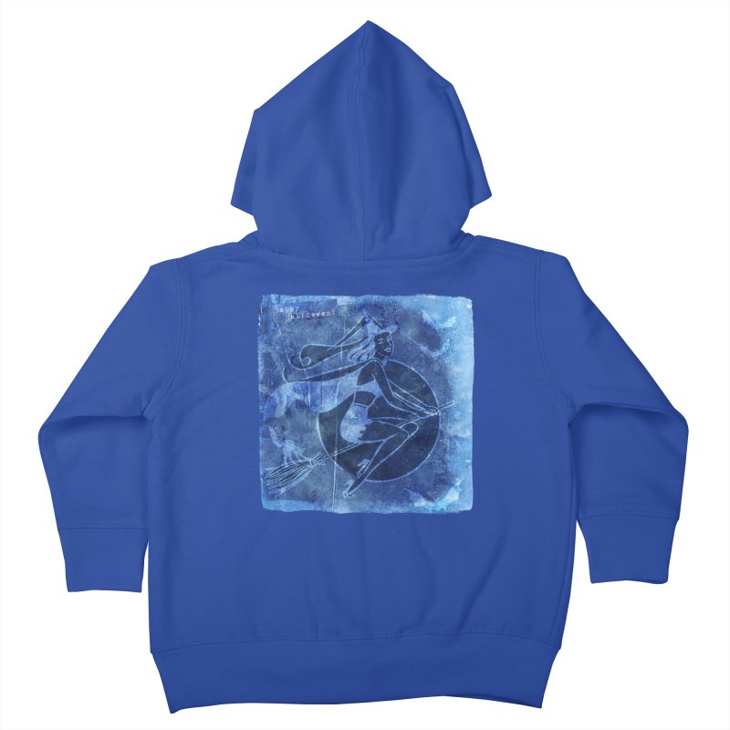 Happy Halloween Broom Riding Witch In Boo Blue! Kids Toddler Zip-Up Hoody by Maryheartworks's Artist Shop